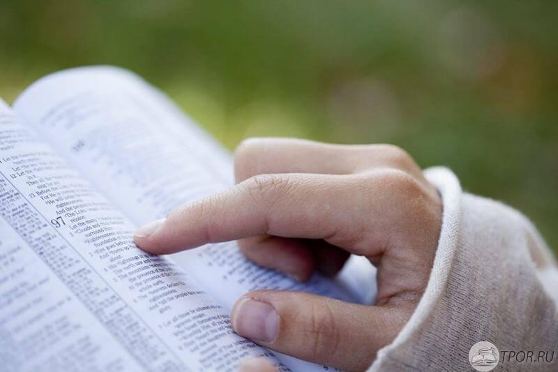 Библия, чтение книги, рука на книги